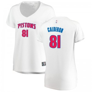 Fanatics Branded Detroit Pistons Swingman White Jose Calderon Fast Break Jersey - Association Edition - Women's